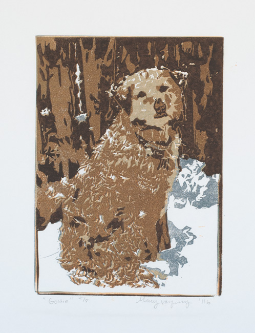 Goldie Linocut Reduction Print