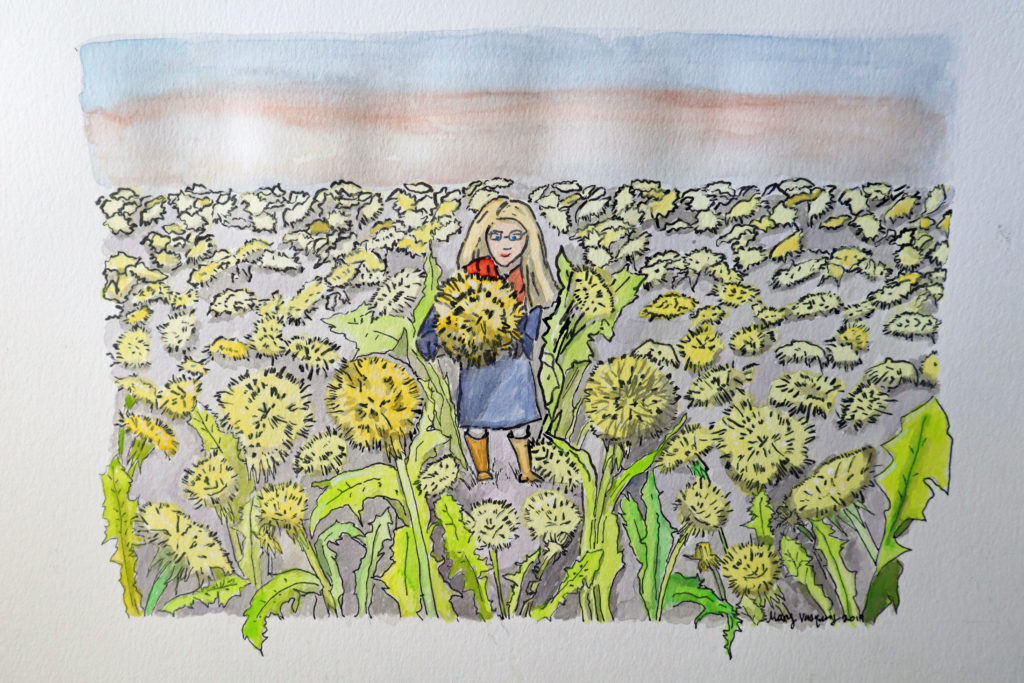Dandelion Field Watercolor