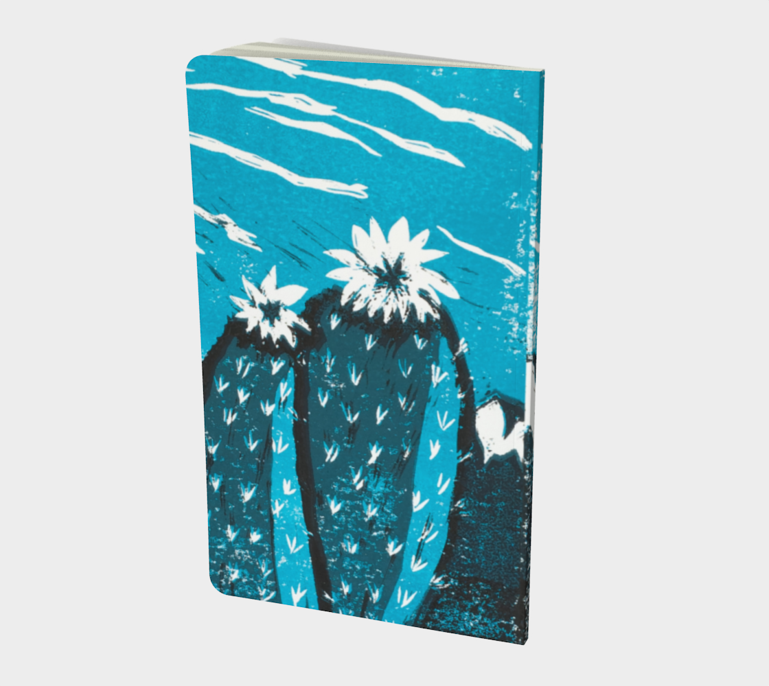 This is an image of the back side of a notebook made to order and it has on it two turquoise cactus flowers