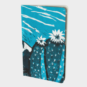 This is an image of the front side of a notebook made to order and it has on it two turquoise cactus flowers